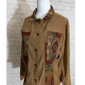 Vintage Button Up Shirt with Canvas Patches